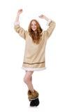 Eskimoska dziewczyna jest ubranym clos wszystkie futerko odizolowywający dalej Zdjęcia Royalty Free