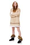 Eskimoska dziewczyna jest ubranym clos wszystkie futerko odizolowywający dalej Zdjęcie Royalty Free