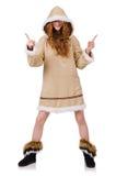 Eskimoska dziewczyna jest ubranym clos wszystkie futerko odizolowywający dalej Fotografia Royalty Free