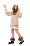 Eskimoska dziewczyna jest ubranym ubrania wszystkie futerko odizolowywający dalej Zdjęcia Royalty Free