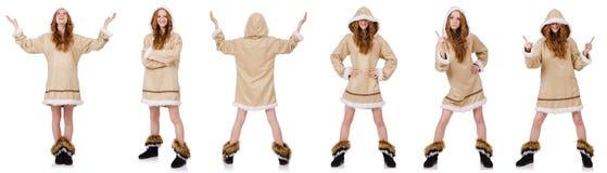 Eskimoska dziewczyna odizolowywająca na bielu Obrazy Royalty Free