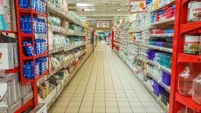 Eskisehir Turcja, Kwiecień, - 17, 2017: Wnętrze zapoczątkowywający w Francja Carrefour supermarket Zdjęcie Stock