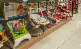 Eskisehir Turcja, Kwiecień, - 08, 2017: Zbliżenie dziecka krzesła sekcja w supermarkecie w Eskisehir Obrazy Stock