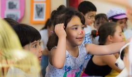 Eskisehir Turcja, Maj, - 05, 2017: Preschool żartuje uczęszczać zwierzęcy dnia wydarzenie w dziecinu Obrazy Stock