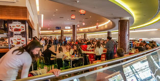 Eskisehir, Turkey - April 08, 2017: Crowded food court at shopping mall in Eskisehir Stock Photos