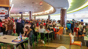 Eskisehir, Turkey - April 08, 2017: Crowded food court at shopping mall in Eskisehir Royalty Free Stock Photography