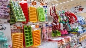 Eskisehir, Turkey - April 17, 2017: Kitchen utensils for sale on supermarket shelves in Eskisehir Royalty Free Stock Images