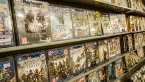 Eskisehir, Turkey - August 11, 2017: Video games on display in a game store in Eskisehir. Turkey royalty free stock photo
