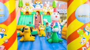Eskisehir, Turkey - June 25, 2017: Children playing in colorful playground in Eskisehir, Turkey. Stock Photography