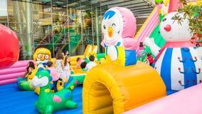 Eskisehir, Turkey - June 25, 2017: Children playing in colorful playground in Eskisehir, Turkey. Royalty Free Stock Photography