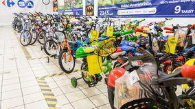 Eskisehir, Turkey - June 05, 2017: Children's bicycles for boys displayed in a Carrefour supermarket in Eskisehir, Turkey Royalty Free Stock Image