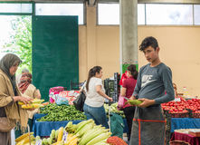 Eskisehir, Turkey - June 15, 2017: People at traditional typical Turkish grocery bazaar in Eskisehir, Turkey. stock photo
