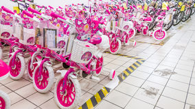Eskisehir, Turkey - June 05, 2017: Pink children's bicycles for girls displayed in a Carrefour supermarket  in Eskisehir, Turkey Royalty Free Stock Photo