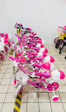 Eskisehir, Turkey - June 05, 2017: Pink children's bicycles for girls displayed in a Carrefour supermarket  in Eskisehir, Turkey Stock Photography