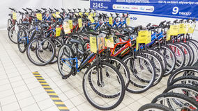 Eskisehir, Turkey - June 05, 2017: Row of mountain bicycles in Carrefour supermarket in Eskisehir, Turkey Royalty Free Stock Photo