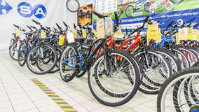 Eskisehir, Turkey - June 05, 2017: Row of mountain bicycles in Carrefour supermarket in Eskisehir, Turkey Royalty Free Stock Image