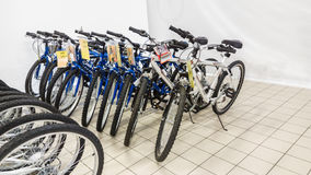 Eskisehir, Turkey - June 05, 2017: Row of mountain bicycles in Carrefour supermarket in Eskisehir, Turkey Stock Photography
