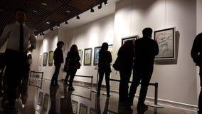 Eskisehir, Turkey - March 4, 2017: Exhibition at Contemporary Art Gallery stock footage