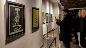 Eskisehir, Turkey - March 4, 2017: People in Contemporary Art Ga royalty free stock image