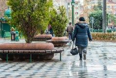 Eskisehir, Turkey - March 13, 2017: People walking in the street Stock Photos