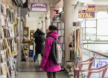 Eskisehir, Turkey - March 13, 2017: Woman examining goods in mall Royalty Free Stock Photography