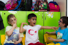 Eskisehir, Turkey - May 05, 2017: Preschool kids attending to an animal day event in kindergarten Stock Photography