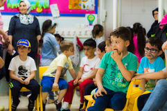 Eskisehir, Turkey - May 05, 2017: Preschool kids sitting together in the classroom. Eskisehir, Turkey - May 05, 2017: Preschool kids attending to an animal day stock photography