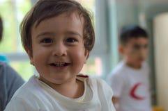 Eskisehir, Turkey - May 05, 2017: Sweet little boy in kindergarten classroom. Eskisehir, Turkey - May 05, 2017: Preschool kids attending to an animal day event Royalty Free Stock Image