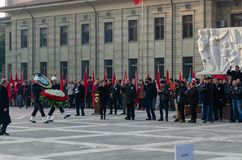Eskisehir,TURKEY-November 10,2017: The Great Leader Atatürk`s. Death anniversary. The soldiers and the public put wreaths on Atatürk statue on the square stock photo