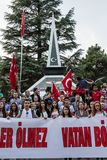 Protests over PKK terrorist attacks and commemoration for martyr. ESKISEHIR, TURKEY - SEP 7, 2015: Protests over PKK terrorist attacks and commemoration for royalty free stock image