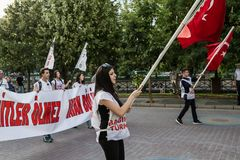 Protests over PKK terrorist attacks and commemoration for martyr. ESKISEHIR, TURKEY - SEP 7, 2015: Protests over PKK terrorist attacks and commemoration for royalty free stock photos