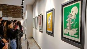 Eskisehir Turkiet - mars 4, 2017: Folk i moderna Art Ga Arkivfoton