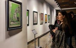 Eskisehir Turkiet - mars 4, 2017: Folk i moderna Art Ga Arkivbild