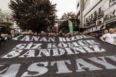 ESKISEHIR, TURQUÍA - 14 DE MAYO DE 2014: Protestas sobre Soma Coal Mine D fotografía de archivo libre de regalías