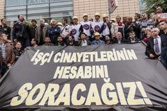 ESKISEHIR, TURQUÍA - 14 DE MAYO DE 2014: Protestas sobre Soma Coal Mine D imagen de archivo libre de regalías