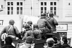 Eskortfartyg av frihet p? ber?mmar av frihet arkivfoto
