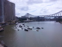 Eskortfartyg för fartyg för polisen G20 i Brisbane royaltyfri fotografi