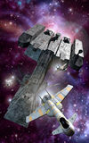 eskortspaceships royaltyfri illustrationer