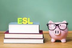 ESL-Thema mit rosa Sparschwein mit Tafel lizenzfreies stockfoto