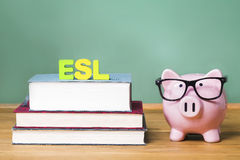 ESL theme with pink piggy bank with chalkboard Royalty Free Stock Photo