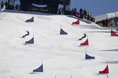 Eslalom gigante paralelo del Snowboard imágenes de archivo libres de regalías