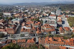 Eslovênia aéreo de Ljubljana foto de stock royalty free