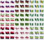 Eslovaquia, Kenia, Saint Vincent y granadinas, Somalilandia, Adygea, Nigeria, UPA, Inglaterra, Gabón Sistema grande de 81 bandera Foto de archivo