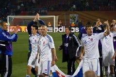 Eslovaquia - personas de fútbol - WC 2010 de la FIFA Imágenes de archivo libres de regalías