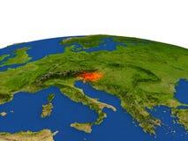 Eslovenia en rojo de la órbita stock de ilustración