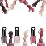 Esmalte de uñas coloreado, cepillo, muestra, marco para el texto libre illustration