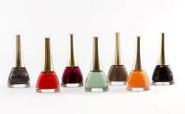 Esmalte de uñas de diversos colores Foto de archivo libre de regalías