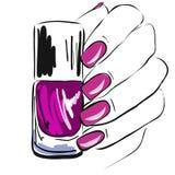 esmalte de uñas en la mano, clavos bien arreglados, esmalte de uñas rosado, manicura, pedicura, gel-barniz, ejemplo del vector Foto de archivo libre de regalías