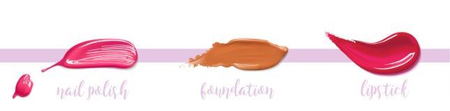 Esmalte de uñas, fundación, movimiento de la mancha del lápiz labial stock de ilustración