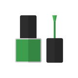 Esmalte de uñas plano del verde del icono Fotos de archivo
